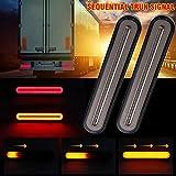 MOGOI Lot de 2 Feux arrière pour remorque 3 en 1 avec éclairage séquentiel pour Caravane, Camion, Bateau, remorque