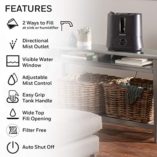 Honeywell Top Fill Cool Mist Humidifier Black Ultra Quiet with Auto Shut-Off, Variable Settings, Removeable Tank & Rotating Mist Nozzle for Medium to Large Rooms, Bedroom, Baby Room