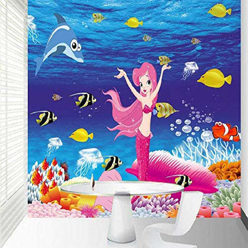 HRXBH Mural 3D Dibujos Animados Peces Mundo Submarino Fondo De Pantalla Dormitorio Infantil Sala De Niños Y Niñas Sala Comedor Tv Fondo Art Deco Papel Tapiz Mural Arte De La Pared(W)250x(H)175cm