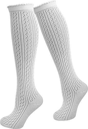 normani 1, 2 oder 4 Paar Damen Dirndl Trachtensocken Häkellook Kniestrümpfe für Teenager und Damen Farbe 1 Paar Größe 43/46