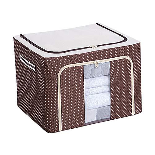 Dantazz Caja de almacenamiento plegable para armario de tela gruesa con cremallera resistente, para ropa interior, calcetines, suéter, ropa, almacenamiento abierto (marrón)