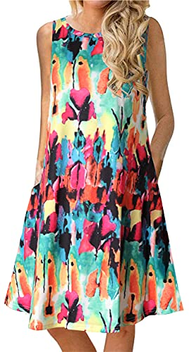 Summer Casual Tshirt Dresses for Women Swing Sun Dress Beach Swimsuit Cover Ups with Pockets 2X-Large Rainbow