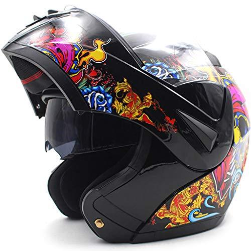 wthfwm Casco de Motocicleta de Cara Completa Casco de Moto Aprobado por el Dot Fibra de Carbono Modular Gorra de Seguridad Plegable hacia Arriba para Cuatro Estaciones,A-XL