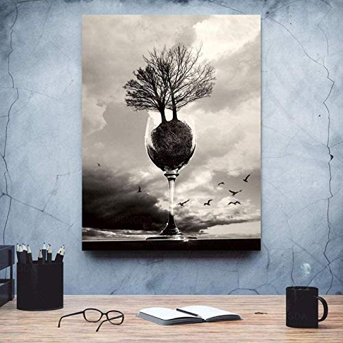 XMYC wall pictures Goblet Planting Trees Seascape Black and White Abstract Creativity Poster Print Pictures Room Decor15.7x23.6in(40x60cm) no frame