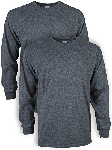 Gildan Men's Ultra Cotton Long Sleeve T-Shirt, Style G2400, 2-Pack, Dark Heather, Large