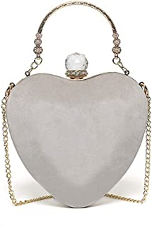 Evening Bag - Women's Fashion Heart-Shaped Evening Bag, Clutch Bag, Messenger Bag, Suitable for Banquets, Parties, Cocktail Receptions (Color : Gray)