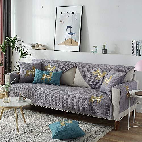 Funda para sofá en Forma de L,Funda de sofá de tela linda,toalla de cojín de sofá antideslizante bordada de ciervo,funda de sofá de madera maciza universal de cuatro estaciones-grey_purple_70 * 70c