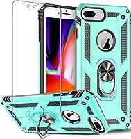 """Folmeikat iPhone 8 Plus ケース、iPhone 7 Plus ケース、iPhone 6s Plus / 6 Plus ケーススクリーンプロテクター360金属回転リングキックスタンドホルダーグリップ内蔵磁気金属プレートアーマーヘビーデューティーショックプルーフ 5.5"""" (ミントグリーン)"""