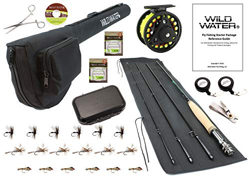 Wild Water Fly Fishing 9 Foot, 4-Piece, 3/4 Weight Fly Rod Deluxe Complete Fly Fishing Rod and Reel Combo Starter Package