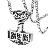 FaithHeart Colgantes Martillo de Thor Acero Inoxidable para Hombres y Mujeres de Estilo Vintage Collares Espirituales de Amuleto de Protección Nórdico
