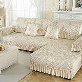 YUTJK Chaiselongue-Sofa Bezug,Neue Jacquard-Sofabezug mit Spitzenrock,rutschfestes Sofakissen für das Wohnzimmer,Armaturenbrett-Handtuchpolster für das Studiensofa-Beige_40×70+15cm(Armlehne)
