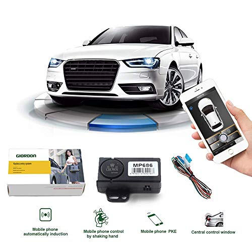 Smart Phone/Remote Key Double Control PKE Car Alarm System Passive Keyless Entry Remote Engine Start One Key Push Start Stop Button Shock Sensor Alarm (No Remote Start Only Lock/Unlock The Car)