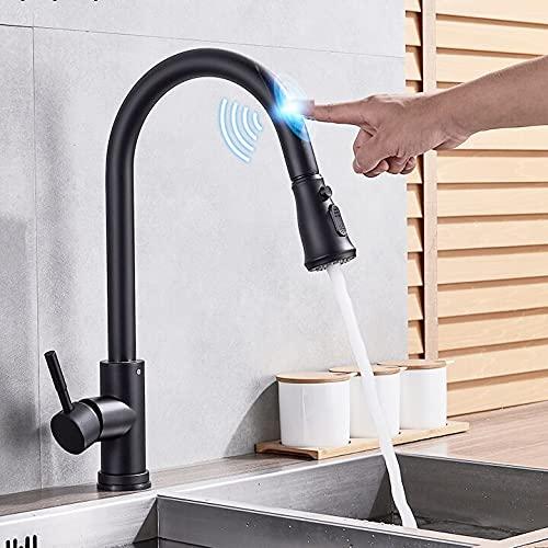 Grifo de la cocina Toque inteligente negro en el sensor del grifo de la cocina Rotación 360 Extraíble Grifo mezclador de una sola manija Dos modos de agua Grúa para fregadero Caliente Frío