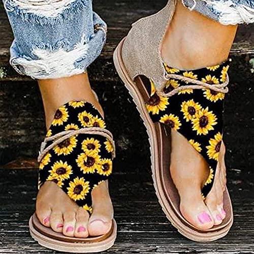 Sandalias Ortopédicas Para Mujer, Corrección Arco Soporte Pisos Talón Punta Redonda Antideslizante con Cremallera en La Espalda Chanclas Verano Elegante Casual Playa Zapatos de Viaje,chrysanthemum-43