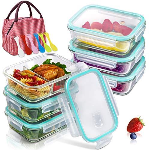 MASTERTOP 6 Pcs Frischhaltedosen Glas Set, (3 mit Trennwänden und Luftlöchern,3 ohne Trennwände und Luftlöchern), Transparentes Vorratsdosen Glas,Luftdichte Glasbehälter mit Deckel für Lebensmittel