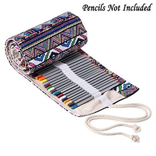BTSKY Canvas Pencil Roll Wrap 108 Slot-Adult Coloring Pencil Holder Organizer for Colored Pencils, NO Pencils (108 Slots Bohemian)