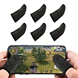 Newseego Mobile Game Controllers Finger Sleeve, Breathable Anti-Sweat Soft Touch Screen Finger Sleeve Sensitive Shoot and Aim for Rules of Survival/Knives Out for Android & iOS- Black [6 Pack]
