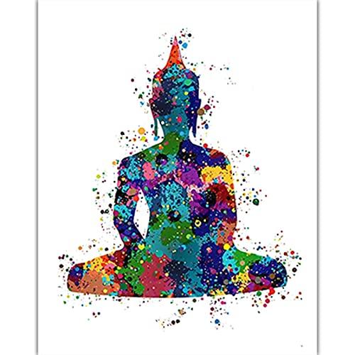 Misszhang Arte De Pared Flor De Loto Lienzo Pintura Yoga Zen Meditación Bohemia Buda Póster E Impresiones Imágenes Artísticas Sin Marco S1046 40X60Cm