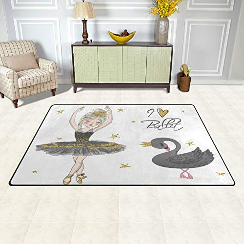 BKEOY Großflächiger Teppich, schöne Ballerina-Mädchen, schwarzer Schwan, für Schlafzimmer, Wohnzimmer, Esszimmer, Küche, Innenbereich, Fußmatte, Fußmatte, Teppich, 152 x 99 cm