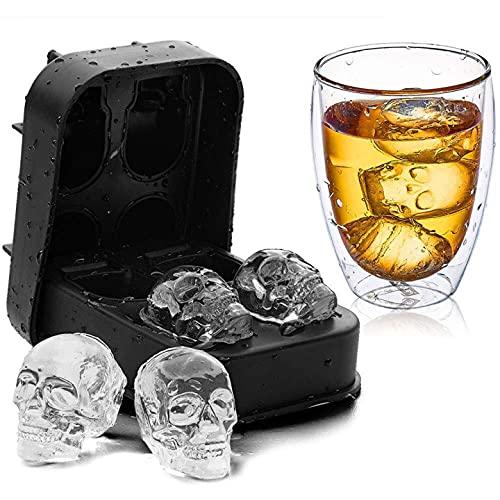Eastor Stampo per Cubetti di Ghiaccio Teschio, 1 Pezzi Vaschetta per Cubetti di Ghiaccio in Silicone, Macchine per il Ghiaccio Rotonde con Coperchio per Bicchieri da Ice Gin(2 imbuto)