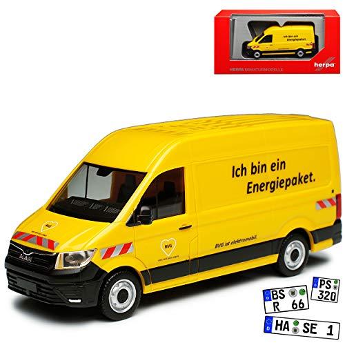 Herpa Man Man TGE Transporter Kasten Gelb E-TGE BVG Baugleich Volkwagen Crafter Ab 2016 H0 1/87 Modell Auto mit individiuellem Wunschkennzeichen