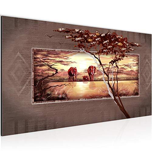 Bilder Afrika Elefant Wandbild Vlies - Leinwand Bild XXL Format Wandbilder Wohnzimmer Wohnung Deko Kunstdrucke Braun Grau 1 Teilig - MADE IN GERMANY - Fertig zum Aufhängen 001012b