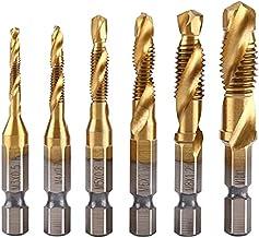 """RunXF 6 stks/Pack 1/4 """"HSS M3-M10 Spiraal Hex Schacht Combinatie Boor Schroef Tap Bits Set Titanium Plating voor Houtwerk ..."""