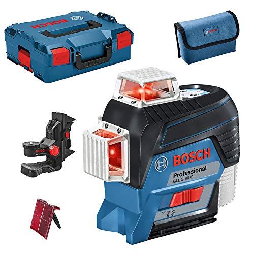 Bosch Professional 12V System Linienlaser GLL 3-80 C (Ohne Akku, Universalhalterung BM 1, m. App-Funktion, roter Laser, Innenbereich, max. Arbeitsbereich: 30 m, Tasche, in L-BOXX)