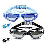 BEEWAY Gafas de Natación - Antivaho, Sin Fugas y Protección UV para Unisex Adultos Niños - Paquete de 2