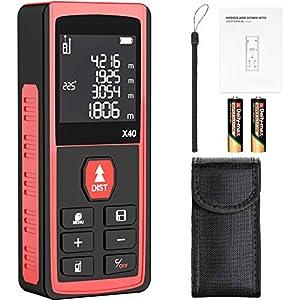 Telémetro láser, papasbox 40M Profesional Medidor Laser de Distancia Metro Laser con Sensor de Ángulo Electrónico LCD Pantalla Reiluminada IP54 Rápida Medición de Distancia Volumen y área(B40-rojo)