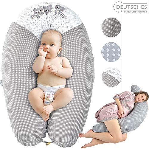Sei Design Stillkissen Schwangerschaftskissen Lagerungskissen Ökotex zertifiziert  Extra leise Füllung. Bezug 100% Baumwolle, abnehmbar XXL 190 x 30 cm