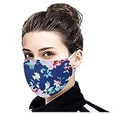 Cara que cubre las mujeres los hombres impresión floral ajustable oído bucles Bandana bufanda reutilizable lavable tela de algodón suave cómodo delgado pasamontañas
