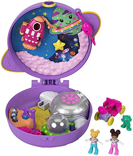 Polly Pocket Saturn Space Explorer Compact with Fun Reveals, Micro Polly and Lila Dolls, Lunar Vehicle, Alien Figure & Sticker Sheet; for Ages 4 Years Old & Up