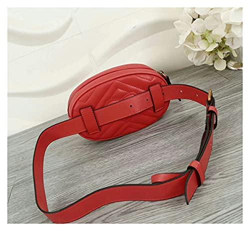 WANGYA Cangurera para Paquete Bolsa de Cintura Mujeres Bolsa de cinturón Redondo Marca de Lujo Bolso de Cuero Moda Riñonera Deportiva o cangurera (Color : Red, Size : 18-11-5cm)