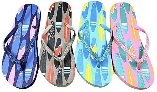 Best Classic Slim Bling Dorm Shower Flip Flops Pack of 4 Pair Women's Inexpensive Comfy Yoga Mat Casual House Shower Back to School Flip-Flops Slipper Shoe for Ladies Teen Girls (Surfboard Size 8)
