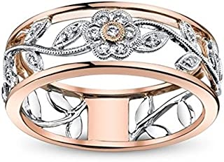 ZHX Exquisite Women's 925 Sterling Silver Floral Ring Proposal Gift Two Tone Diamond Jewelry 18K Rose Gold Vine Flower Bridal Engagement Rings Wedding Band Size 6-10 Multi-Color 9