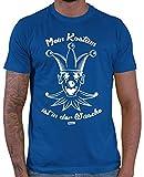 Hariz - Camiseta para hombre, diseño con texto 'Mein Kostüm ist in der Wäsche Carnaval disfraz, incluye tarjeta de regalo azul real XXXL