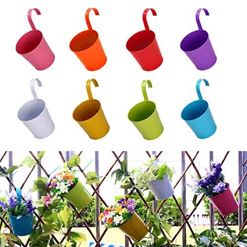 Spiritsun Macetas Colgantes de Metal Jardineras exterior balcon Juego de 8 macetas de jardín...