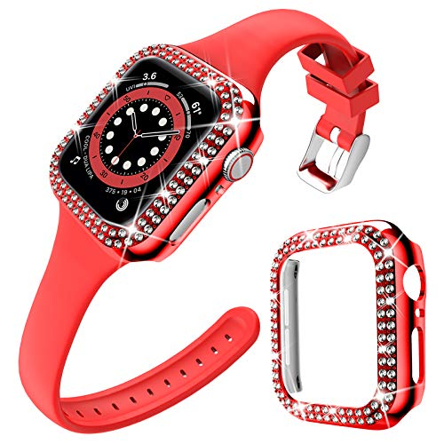 DABAOZA Compatible for Apple Watch Band 38mm with Case, Soft Silicone Band Narrow Thin strap with Bling Dressy Sparkle Cover Protective Rhinestone Bumper Frame for iWatch Series 3/2/1. (Red, 38mm)