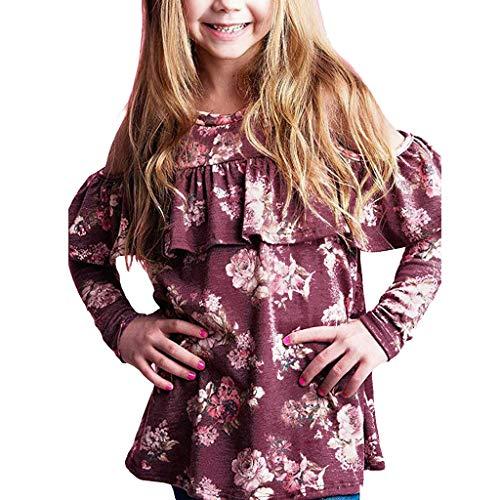 KEERADS Toddler Bébés Filles Manches Longues O-Cou Floral Impression Enfants T-Shirt Belle Rosée Sholder Lâche Casual Volants Chemises Vêtements 6-14 Ans (6-7 Ans,Rose)