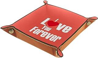BestIdeas Panier de rangement carré 20,5 × 20,5 cm, avec inscription « I Love You Forever », boîte de rangement sur table ...