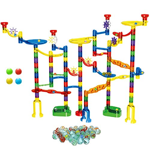 KO-ON 154 Pcs Marble Run-Educational Marble Runs for Kids&Giftable Marble Stem Toys -154 Pieces (Solid Marble Maze Race +96 Translucent Pieces+54 Glass Marbles+4 LED Colored Beads) (154)