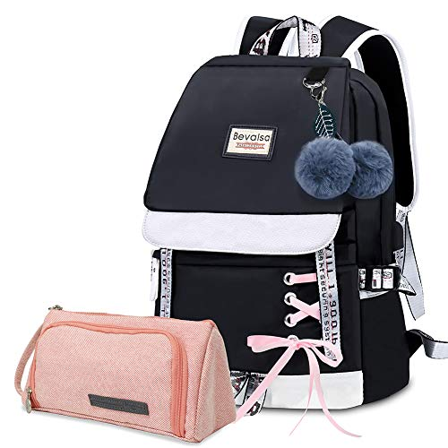 Bevalsa Backpack with Pen Pencil Bag Case Pouch Set for Girls Kids Elementary Middle High School College Student 20L Nylon Water Resistant Casual Daypack Children Schoolbag Book Bag (Black)