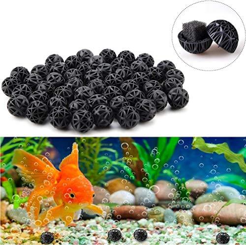 50 Stücke Bio Filterbälle Filtermedium BalanceBalls Bio Poröse Filter Biochemische Ball, reduziert Anzahl Wasserwechsel, Filtermaterial für EX Außenfilter (26mm)