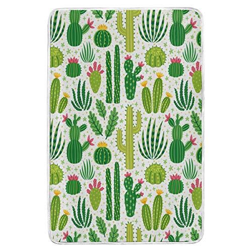 Diferentes cactus manta de felpa para cama de peluche, súper suave, cálida, con flores, color verde, manta de forro polar, para sofá o sofá, ligera, para viajes, camping, 152 x 229 cm, para niños y mujeres, hogar D