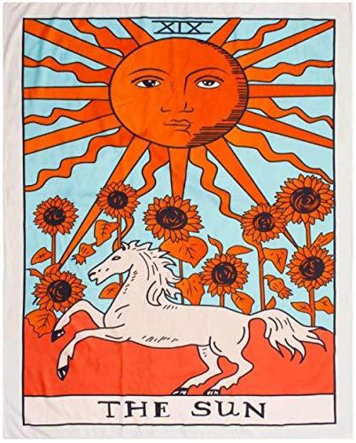 AdoDecor Tarot Hängende Wandteppiche Sun Star Moon Wandbehang Decke Wand Teppich Yogamatte Home Decoration 200x150cm