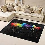 Sunzhenyu Alfombra de color que brilla en la oscuridad, alfombra para sala de estar, alfombra para dormitorio, alfombra antideslizante extra suave y cómoda, lavable para el hogar, 72 x 48 pulgadas