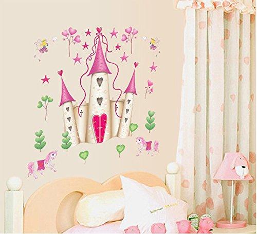 ufengke® Cartoon Prinzessin Schloss Wandsticker,Kinderzimmer Babyzimmer Entfernbare Wandtattoos Wandbilder