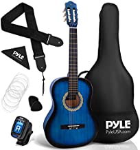 "Beginner 36"" Classical Acoustic Guitar - 3/4 Junior Size 6 String Linden Wood Guitar w/ Gig Bag, Tuner, Nylon Strings, Picks, Strap, For Beginners, Adults - Pyle PGACLS82BLU (Blue Burst) Blue Fade"