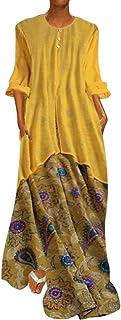 Lloopyting Vestido Largo clásico para Mujer con Estampado de Talla Grande, Suelto, Informal, Liso, Sexy, Verano, Playa, Mini Vestido